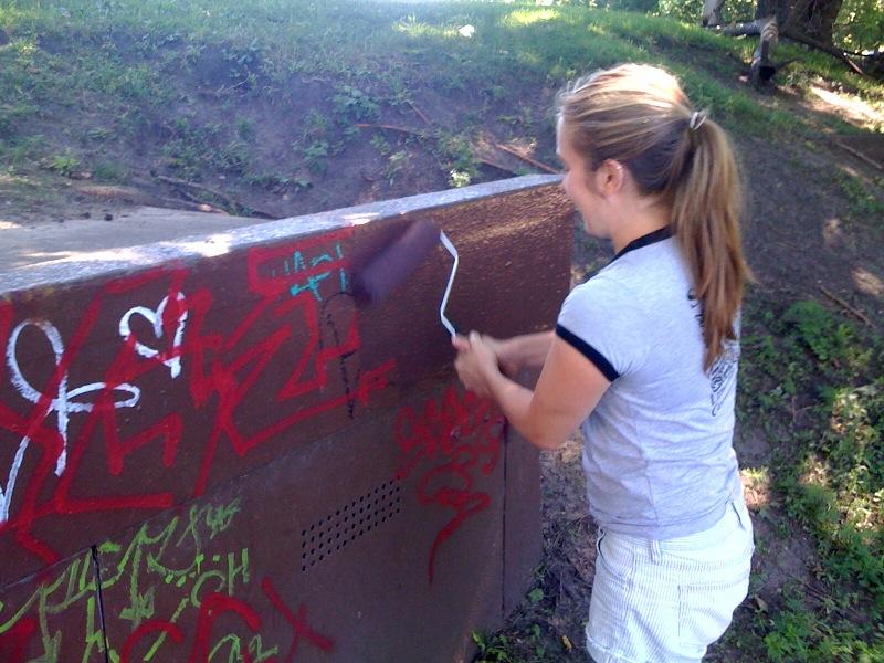 Kari Painting Over Graffiti 6.10 - Lily Pool & NP Maintenance Fund